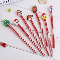 Wholesale eraser christmas for sale - Group buy Creative Christmas Stationery Santa Claus Snowman Tree Pencil with Eraser Cap for School Office Supplies AP002