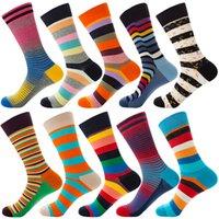 ingrosso donne di stile del calcio-Stripe Designer Colorful Happy Socks cotone per le donne di sport esterni del VESTITO dal MENS Calzini 10 Stili traspirante novità Raffreddare Mid Calze M879F
