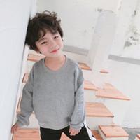 sudadera gris bebé al por mayor-Baby boy sudadera sólido negro gris color o-cuello carta de algodón impreso niños ropa niñas niños ropa