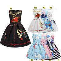Wholesale princess dress 3xl resale online - girls dress Summer Sleeveless Love Heart Printed A line Princess Dress baby girl dresses kids designer clothes boutique MMA2246