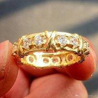 tanzanite yüzükler elmaslar toptan satış-Marka Jewlery Kadınlar 925 Gümüş altın Simüle Elmas CZ taş beyaz Tanzanit Sarı Altın Çapraz Ebedi Bant Alyans