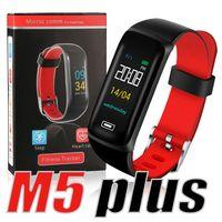 u8 saat bantları toptan satış-M5 Artı Akıllı Bilezik Renkli LCD Ekran Spor Izci Pedometre Watch Band Kalp Hızı Kan Basıncı Monitörü kutusunda PK ID115 DZ09 U8
