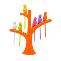 meyve çatalı şekil toptan satış-6 adet + 1 Standı Kuşlar Ağaç Şekli Meyve Çatal Plastik Sebze Çatal Meyve Çerez Tatlı Forks Tutucu Için Parti
