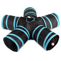 jogos de tubulação venda por atacado-Túnel do gato, 5-Way Dobrável Pet Toy Tunnel - Coelho, Gato e Dog Game Pipe - Preto azul