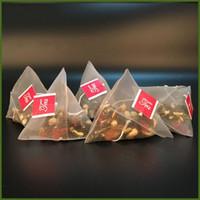 etiquetas de té al por mayor-Con etiqueta Bolsas de filtro de nylon Resistente al calor Vacío Bolsas de té desechables Triángulo Hierba Infusor de té Colador de bolsa Transparente 0 14xl BB