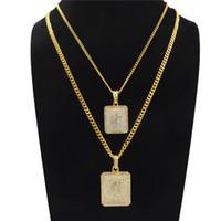 colgante cuadrado de oro para hombre al por mayor-Hip Hop collar largo de la aleación para los hombres mujeres Rhinestone geométrico cuadrado collares pendientes moda chapado en oro accesorios de joyería al por mayor