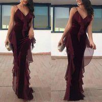 Wholesale beautiful plus size prom dresses for sale - Group buy Beautiful Grape Mermaid Velvet Evening Dresses Spaghetti Straps Draped Arabic Party Prom Gown Robe De Soiree Plus Size