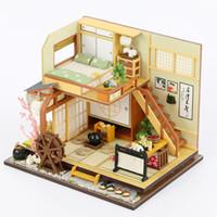 ingrosso giapponese in miniatura-Giappone Stile Edificio fatto a mano Assemblaggio Legno capanna FAI DA TE Casa delle bambole in miniatura Giocattolo Regali di compleanno in miniatura Fai da te Modello di puzzle