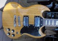 yüksek kaliteli sg gitar toptan satış-Ücretsiz Kargo Toptan Özel Maun Yüksek Kalite İyi Ses SG-400 Ahşap Renk Elektro Gitar