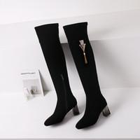 ingrosso stivali metallici della nappa-Nuove donne sopra gli stivali alti al ginocchio Heels scarpe invernali scarpe a punta sexy tessuto elasticizzato donne stivali metallo nappa decorazione in nappa