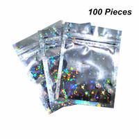 wiederverwendbare lebensmittelbeutel großhandel-100pcs Lot 3 Größen Glittery Zip-Lock Aluminiumfolie Wiederverwendbare Lebensmittel Ventilverpackungstasche