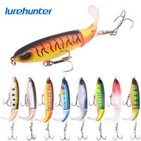 pele de pesca 3d venda por atacado-8 pcs Whopper Plopper 10 cm 13g Flutuante Popper Isca De Pesca Artificial Hard Bait Wobbler Rotating Tail Fishing Tackle 3D Eyes
