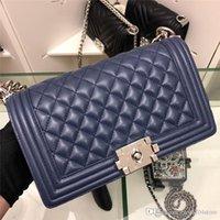ingrosso borsa in vernice blu-2019 Blu medio in pelle verniciata argento HW boy bag A67086 Borsa a tracolla Dimensioni borsa: 25 * 15 * 10cm