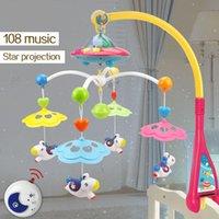jouets rotatifs berceau achat en gros de-Berceau musical lit mobile Bell bébé hochet tournant support projection jouets pour 0-12 mois nouveau-né enfants cadeau de baptême