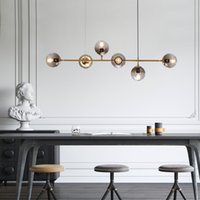 Wholesale ball suspension pendant for sale - Group buy modern hand blown glass shade chandelier long hanging suspension for deco home gold glass ball magic bean luminaire plafonnier
