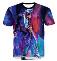 erkekler rulo şort toptan satış-Yeni Moda Rock and Roll Kralı Michael Jackson T-shirt Kadın Erkek Yaz Unisex 3d Baskı Kısa Kollu Crewneck Casual Tops Q324