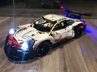Wholesale building block set cars resale online - Porsche RSR DIY Led Light Set For Compatible IEGOset technic MOC race Car Building Blocks Toys Gifts
