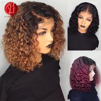 vermelho ombre laço peruca cabelo humano venda por atacado-densidade 130% Curly 360 Lace Wig frontal ombre BROWN / RED Pré arrancado com o bebê cabelo brasileiro Remy reais perucas de cabelo humano (5 dias personalizados)
