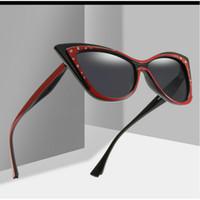 gato mariposa de cristal al por mayor-Diamond Butterfly Cat Sunglasses Women 2019 Nuevo Diseñador de la Marca de Cristal Gafas de Sol Para Las Mujeres de Moda Color Tintado Sombra UV400 FML