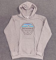 iluminación gris al por mayor-PATAGONIA Sudadera con capucha para hombre Diseñador de alta moda para hombre Sudaderas con capucha Patagonia Gris claro impreso manga larga sudadera S - 2XL