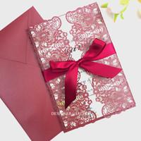 invitations ruban rouge achat en gros de-Marsala Laser Cut invitations de mariage avec ruban rouge Bourgogne imprimable damas Invitations pour Quinceanera nuptiale de douche Birthday Party