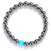 braceletes de contas de opala venda por atacado-Opal Bead Bracelet For Men Mulheres Negras 8 mm Oração Pedra Natural Reiki Beads Yoga Strand Bangles Pulseira
