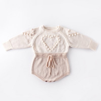 Wholesale girls heart sweater for sale - Group buy Baby Knitted Clothes Heart Baby Girl Romper Pompom Infant Girls Sweater Designer Newborn Jumpsuit Autumn Winter Baby Clothing DW4652