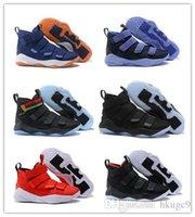 new style 2ca9a 90d8d 2018 nouvelles chaussures de basketball James Soldier XI 11 bleu marine  hommes   dames LeBron Soldier XI 11 baskets de sport noir   rouge   blanc