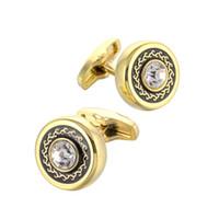 abotoaduras redondas de ouro venda por atacado-2 Peças Homens Rodada Ouro Francês Europa Negócio Abotoaduras Terno Cuff Botões Simples Simples Acessórios Diários