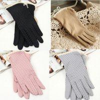 Wholesale fingerless sun protection gloves resale online - 1 Pai Summer Dot Bow Glove Thin Sun Protection Women s Driving Short Sunscreen Gloves Ladies Cotton Colors Harajuku Black