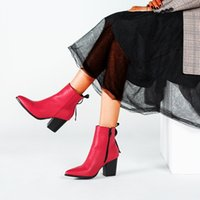 Wholesale female boot footwear for sale - Group buy Shoes Woman Winter Ankle boots High Heels Women Boots Pointed Toe Footwear Zip Female Booties Pu botas mujer invierno red