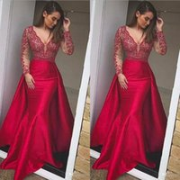 Wholesale short formal dressess resale online - Hot Sale Mermaid Overskirt Prom Dresses Detachable V Neck see through long sleeve lace holiday formal evening gowns long berta dressess