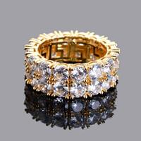 out оптовых-Iced Out Hip Hop Jewelry мужские блестящие 2-рядные кубические кольца из циркония золотой цвет серебряный цвет R010