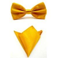 ingrosso cravatta gialla per uomini-Tie Set Papillon per uomo Tovagliolo tascabile Mariage Fazzoletto a farfalla in poliestere giallo oro