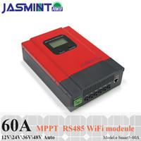 controlador solar 36v al por mayor-Controlador de carga solar MPPT 60A / 50A / 40A / 30A / 20A Regulador solar LCD de luz negra para 12V 24V 36V 48V Baterías de ión de litio de plomo con co