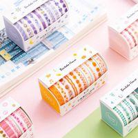 cinta adhesiva amarilla al por mayor-10 Unids / pack Verde Rosa Amarillo Diario Washi Tape Set Cinta Adhesiva DIY Scrapbooking Diario Enmascaramiento 2016