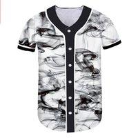 herren v-ausschnitt großhandel-Freizeithemd Herren Baseball Jersey Knöpfe Hemd Hip Hop Herren Damen Baseball T Shirt Slim Large Size Hemden V-Ausschnitt Mode