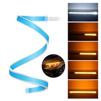 esnek drl toptan satış-2adet Ultrafine 30cm 45cm 60cm DRL Esnek LED Tüp Stil Sinyal Fren Lambaları Gündüz Işıklar Şerit Araç Far Gözyaşı çevirin