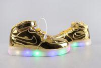 yüksek üst led ayakkabı toptan satış-2019 çocuk LED Çocuk ışık ayakkabılar Çocuklar yüksek top rahat ayakkabılar küçük yangın ejderha sınırlı sayıda deri malzeme boyutu: ABD 7-10