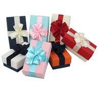 ingrosso scatola di prua dell'imballaggio-Scatole di imballaggio creative del contenitore di regalo all'ingrosso finito scatola di regalo dei gioielli della scatola di cartone con il pacchetto delle boutique dell'arco