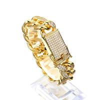 homens prata pulseira cubano link venda por atacado-18 MM 20 cm 23 cm Homens Cubic Zircon Elo Da Cadeia Pulseira de Prata de Ouro Rosegold Grosso Material de Cobre Pesado CZ Hip hop Jóias