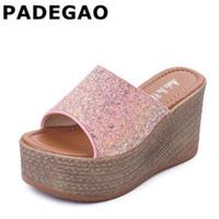 Wholesale high heeled clogs resale online - Summer Wedge Slippers Platform High Heels Women Slipper Ladies Outside Shoes Basic Clog Wedge Slipper Flip Flop Sandals
