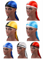 Wholesale new summer wigs for sale - Group buy 2019 New Fashion Two color Men s Satin Durags Bandana Turban Wigs Men woman Silky Durag Headwear Headband Pirate Hat Hair Accessories