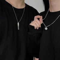 Wholesale titanium pendants for couples for sale - Group buy Fashion Cool Circle Double Layers Titanium Steel Chain Letter Pendant Man Couple Necklace for Girl and Boy Hip Hop Jewelry