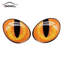 etiquetas dos olhos de gato venda por atacado-ONEWELL 3D Engraçado Reflexivo Olhos de Gato Adesivos de Carro Truck Cabeça Do Motor Espelho Retrovisor Tampa Da Janela Porta Decalque Gráficos