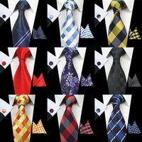 Wholesale mens tie resale online - RBOCOTT Classic cm Tie Set For Men Silk Jacquard Woven Plaid Ties Handkerchief Cufflinks Set Mens Striped Wedding Necktie