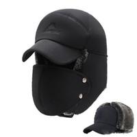 casquettes hommes russes achat en gros de-Mens hiver chapeaux oreille rabats bombardier chapeaux avec bord et masque pour le visage chapeau chaud pour hommes russe casquette de ski imperméable hommes