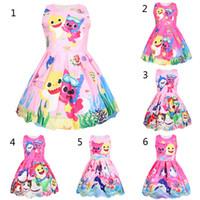 ropa de noche para niños al por mayor-12 muchachas del estilo del bebé del tiburón visten los niños encantadores de la princesa del tiburón de la historieta vestidos de fiesta falda de noche de los niños ropa B
