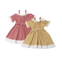 Wholesale girl clothe resale online - Baby Lace Princess Dress Toddler Infant Baby Girls Suspender Skirt Kids Designer Clothing Outfits Puff Sleeve Square Off Shoulder Dress