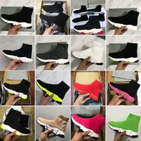 Wholesale canvas flat boots for sale - Group buy 2020 New Designer Sneakers Speed Trainer Sock Fashion Shoes Triple Black Green Boots Red Flat Men Women Casual Shoes Sport With Dust Bag